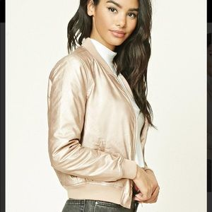 Forever 21 rose gold bomber jacket faux leather